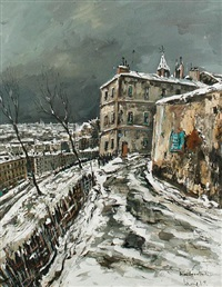 a winter street scene in ménilmontant, paris by l. p. lemoine