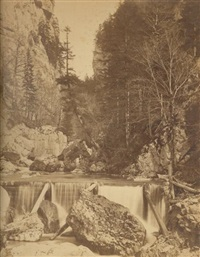 grande chartreuse, cascade, paysage hivernal (3 works) by victor muzet and gabriel joguet