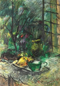 still life with pears and green cup by iosif rosenbluth