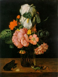 flowers in a glass vase on a ledge with a frog and a lizard by jan baptist fornenburgh