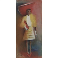 untitled (woman in red hat) by norman lewis