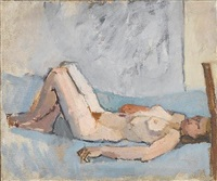 nude on back with knees raised by euan uglow