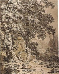 an arcadian landscape with figures resting near a classical tomb by jean grandjean