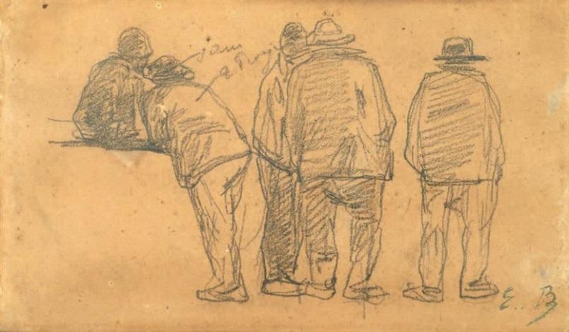 cinq pecheurs de dos by eugène boudin