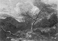 paysage à la rivière sous l'orage (les bords de la bourbre?) by hector louis allemand