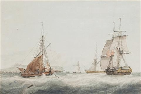 a brig running up the channel amidst other vessels in the straits of dover with dover castle on the clifftop beyond by samuel atkins