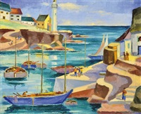 mediterranean harbour with a lighthouse by jenõ szantrucsek
