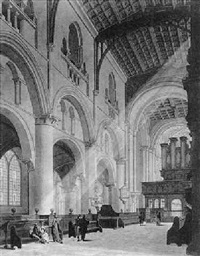 the interior of christchurch cathedral, oxford by thomas malton the younger