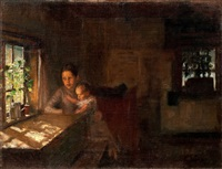 a study for the painting interior of a crofter's cottage by albert edelfelt