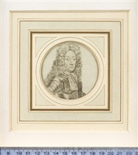 a nobleman, previously called george ii, but probably william iii, king of england, wearing armour, striped cravat and long curled wig by john faber the elder