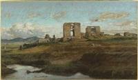 ruines de l'aqueduc de claude dans la campagne romaine by felix-hippolyte lanoue