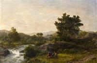 camp fire alongside river by thomas danby