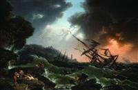 marina in tempesta e astanti sulla riva by carlo bonavia