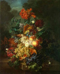 flowers together with fruit on a ledge with butterflies hovering and a landscape beyond by moise jacobber