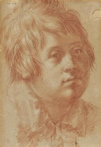 portrait of a boy (recto); two head studies of a boy (verso) by italian school-roman (17)