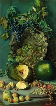 a still life with grapes, apples, squash and other fruit by ignacio torrabadella