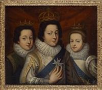 portrait de louis xii, n. de france duc d'orléans et gaston duc d'anjou et françoise madeleine d'orléans, duchesse de savoie, marguerite louise d'orléans et elisabeth d'orléans, mademoiselle d'alençon (pair) by frans pourbus the younger