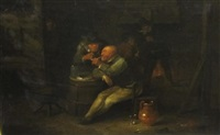 topers in a tavern (+ at a tavern table; pair) by egbert van heemskerk