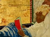 enfant à sa lecture, fenêtre ouverte sur les moissons by alix aymé