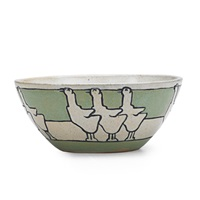 cereal bowl decorated in cuerda seca with geese by rose bacchini