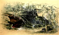 les grottes d'erda, projet de décor pour siegfried de wagner by amable (amable-petit)