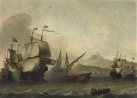 a naval engagement, said to be the battle of agosta, 22 april 1676 by aernout (johann arnold) smit