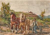 bauer mit pferdefuhrwerk by sebastian leicht