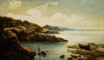 vista de cala con pescador by manuel cuyas agullo