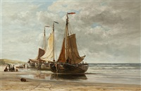 moored barges on the beach by hendrik hulk