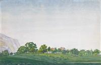 landschaft mit genfer bauernhäusern by albert trachsel