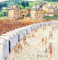 les cabines, plage des petites dalles, haute normandie by pierre godet