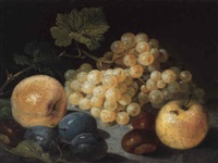 nature morte aux raisins, pommes, prunes et châtaignes by vinzenz kreuzer