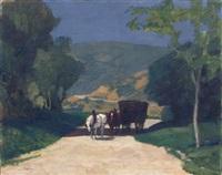 paysage de campagne à la charrette de foin by jules léon flandrin