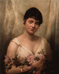 portrait of a lady in white gown holding roses by h. fischer