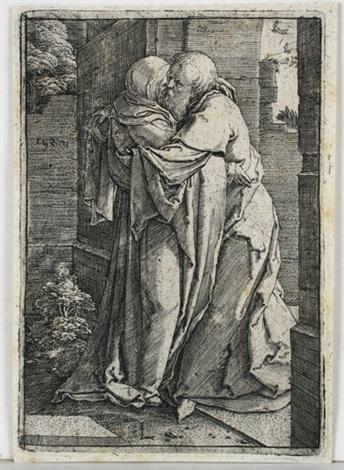 der heilige joachim die heilige anna an der goldenen pforte umarmend by lucas van leyden