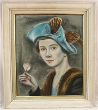 woman in blue hat by peggy dodds