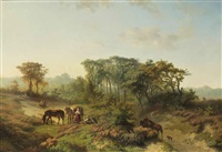 travellers resting in a summer landscape by wouterus verschuur and paul joseph constantin gabriël