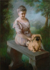 portrait of woman with her dog by c. f. pereira