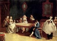 interno di palazzo veneziano con giocatori di carte e altre figure by giuseppe gobis