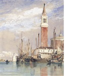 san giorgio island with the church of san giorgio maggiore looking towards the lagoon by edward william cooke