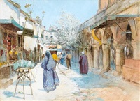 turkish street scene by warwick goble