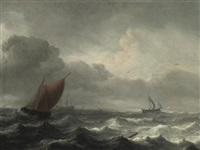 a three-master in choppy waters, a coast beyond by aernout (johann arnold) smit