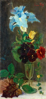 blomsterstilleben med violer by emma (helfrid charlotta) toll