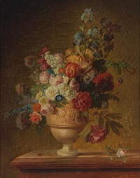 flowers in a basket on a marble ledge by gérard van spaendonck
