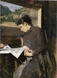 la moglie che legge il giornale by filadelfo simi