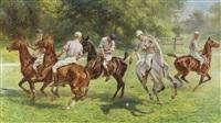 les joueurs de polo dans le parc by leon eugene august abry
