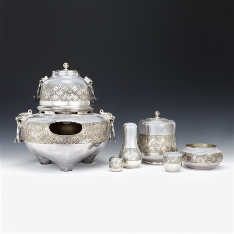 hirata jukoubrpure silver chrysanthemum and paulownia pattern tea ceremony set 8 pieces