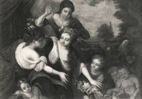 flora surrounded by maidens and putti by augustus (snip) terwesten