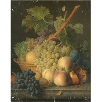 still life with grapes and peaches in a basket, an open pomegranate, plums, black grapes and more peaches on the marble ledge beneath by jan frans van dael