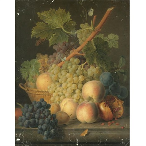 still life with grapes and peaches in a basket an open pomegranate plums black grapes and more peaches on the marble ledge beneath by jan frans van dael